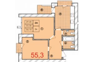 ЖК Крайобраз: планування 2-кімнатної квартири 55.3 м²