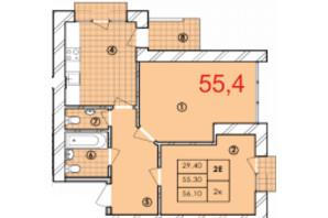 ЖК Крайобраз: планування 2-кімнатної квартири 55.4 м²