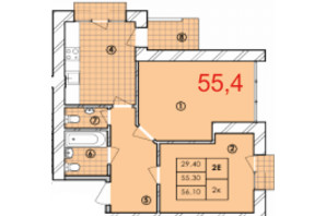 ЖК Крайобраз: планировка 2-комнатной квартиры 55.4 м²