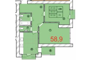 ЖК Крайобраз: планировка 2-комнатной квартиры 58.9 м²
