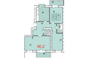 ЖК Крайобраз: планировка 3-комнатной квартиры 90.2 м²