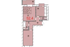 ЖК Крайобраз: планировка 2-комнатной квартиры 52.4 м²