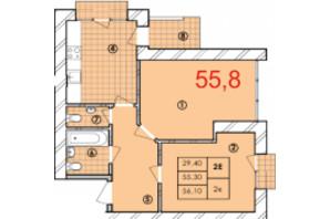 ЖК Крайобраз: планировка 2-комнатной квартиры 55.8 м²