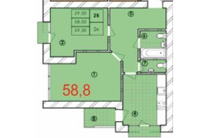 ЖК Крайобраз: планировка 2-комнатной квартиры 58.8 м²