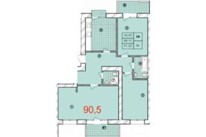 ЖК Крайобраз: планировка 3-комнатной квартиры 90.5 м²