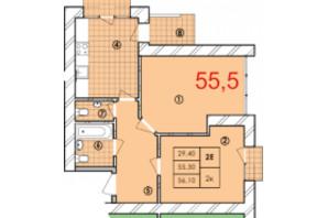 ЖК Крайобраз: планировка 2-комнатной квартиры 55.5 м²