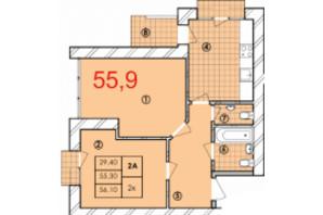 ЖК Крайобраз: планировка 2-комнатной квартиры 55.9 м²