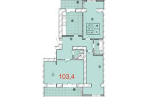 ЖК Крайобраз: планировка 3-комнатной квартиры 103.4 м²