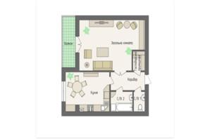 ЖК Краковский: планировка 1-комнатной квартиры 58.52 м²