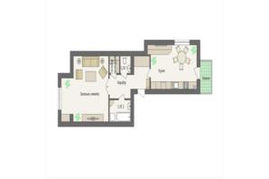 ЖК Краковский: планировка 1-комнатной квартиры 63.28 м²