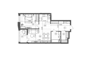 ЖК Krauss Gallery (Краусс Гелери): планировка 1-комнатной квартиры 64.86 м²