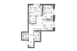 ЖК Krauss Gallery: планування 2-кімнатної квартири 70.16 м²