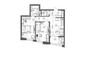 ЖК Krauss Gallery: планування 2-кімнатної квартири 60.35 м²