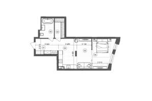 ЖК Krauss Gallery: планування 1-кімнатної квартири 50.61 м²