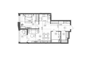 ЖК Krauss Gallery: планування 1-кімнатної квартири 64.86 м²