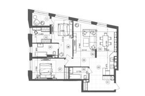 ЖК Krauss Gallery: планування 2-кімнатної квартири 99.84 м²