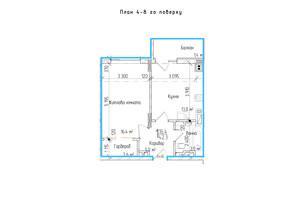 ЖК KromaxBud: планировка 1-комнатной квартиры 42.3 м²