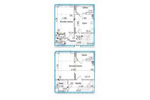 ЖК KromaxBud: планировка 2-комнатной квартиры 74 м²