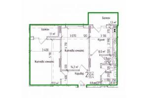 ЖК KromaxBud: планировка 2-комнатной квартиры 55 м²