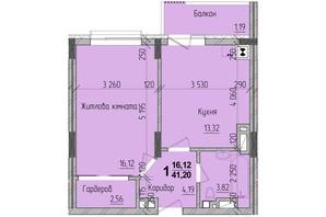 ЖК KromaxBud: планировка 1-комнатной квартиры 41 м²