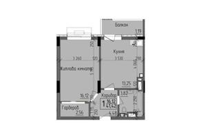 ЖК KromaxBud: планировка 1-комнатной квартиры 41.42 м²