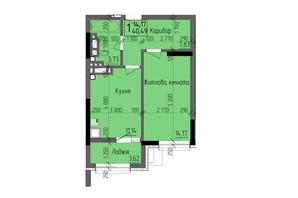 ЖК KromaxBud: планировка 1-комнатной квартиры 40.49 м²