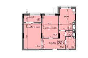 ЖК KromaxBud: планировка 2-комнатной квартиры 60.18 м²