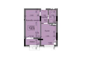 ЖК KromaxBud: планировка 1-комнатной квартиры 38.59 м²