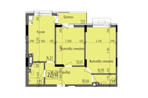 ЖК KromaxBud: планировка 2-комнатной квартиры 62.77 м²