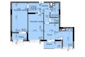 ЖК KromaxBud: планировка 2-комнатной квартиры 67.16 м²