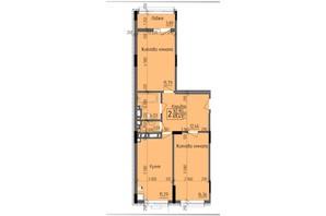 ЖК KromaxBud: планировка 2-комнатной квартиры 69.41 м²