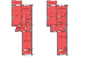 ЖК KromaxBud: планировка 4-комнатной квартиры 128.13 м²