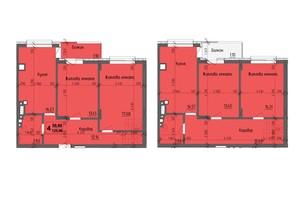 ЖК KromaxBud: планировка 4-комнатной квартиры 125.96 м²