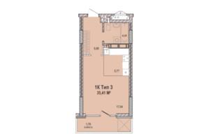 ЖК Krona Park 2: планування 1-кімнатної квартири 35.41 м²