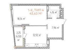 ЖК Krona Park 2: планування 1-кімнатної квартири 45.63 м²