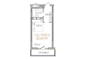 ЖК Krona Park 2: планування 1-кімнатної квартири 35.45 м²