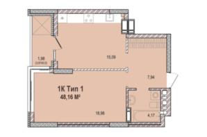 ЖК Krona Park 2: планування 1-кімнатної квартири 48.45 м²