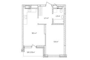 ЖК Krona Park 2: планування 1-кімнатної квартири 47.42 м²