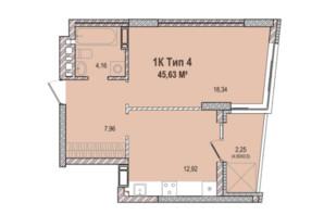 ЖК Krona Park 2: планування 1-кімнатної квартири 46.73 м²