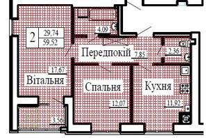 ЖК Крила: планування 2-кімнатної квартири 59.52 м²