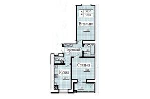 ЖК Крила: планування 2-кімнатної квартири 57.83 м²
