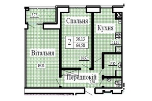 ЖК Крила: планування 2-кімнатної квартири 64.58 м²