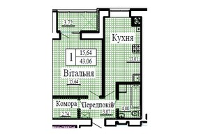 ЖК Крила: планування 1-кімнатної квартири 43.06 м²