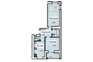 ЖК Крила: планування 2-кімнатної квартири 57.74 м²
