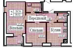 ЖК Крылья: планировка 2-комнатной квартиры 59.52 м²