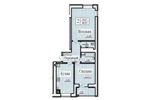 ЖК Крылья: планировка 2-комнатной квартиры 66.95 м²