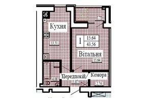 ЖК Крылья: планировка 1-комнатной квартиры 43.56 м²