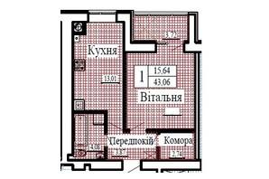 ЖК Крылья: планировка 1-комнатной квартиры 43.06 м²