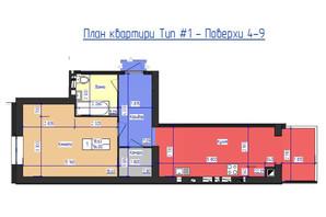 ЖК Кришталеве Озеро: планировка 1-комнатной квартиры 56 м²