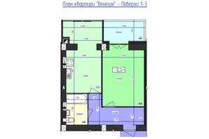 ЖК Кришталеве Озеро: планировка 1-комнатной квартиры 45.09 м²